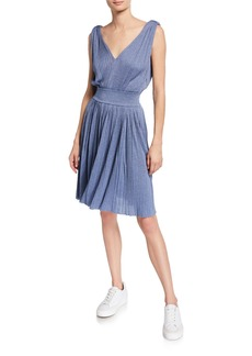 Armani V-Neck 3/4-Sleeve Knit Fit-and-Flare Dress
