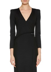 Armani V-Neck Faux-Wrap Jersey Dress w/ Strong Shoulders