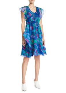 Armani V-Neck Floral Print Chiffon Dress