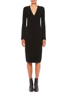 Armani V-Neck Knit Long-Sleeve Dress