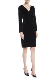 Armani V-Neck Long-Sleeve Ruched Velvet Jersey Dress