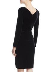Armani V-Neck Long-Sleeve Ruched Velvet Jersey Dress