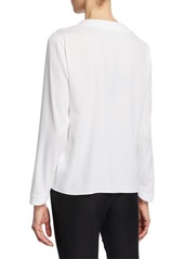 Armani V-Neck Long-Sleeve Silk Blouse with Embroidered Details
