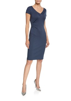 Armani V-Neck Milano Jersey Cap-Sleeve Dress