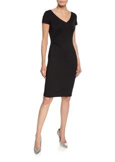 Armani V-Neck Milano Jersey Cap-Sleeve Sheath Dress