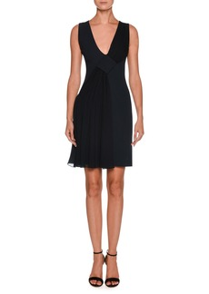 Armani V-Neck Sleeveless Crepe Short Dress w/ Chiffon Ruching