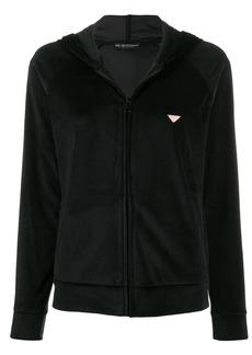 Armani velour zipped hoodie