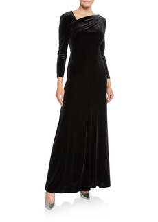 Armani Velvet Asymmetric-Neck Long-Sleeve Gown