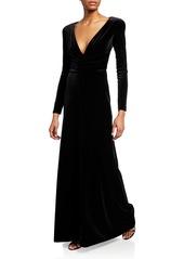 Armani Velvet Long-Sleeve Gown