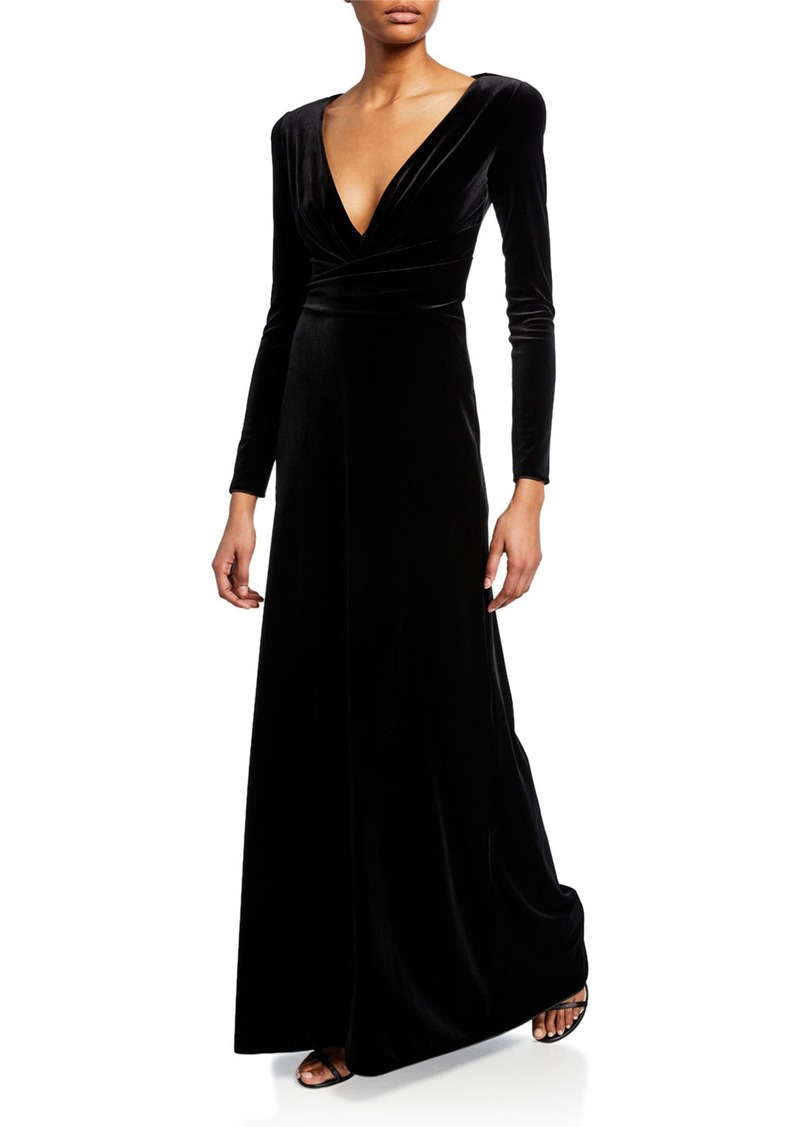 Armani Velvet Long-Sleeve Gown