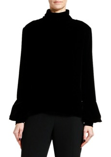 Armani Velvet Turtleneck Poet-Sleeve Blouse