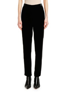 Armani Velvet-Waist Straight-Leg Pants