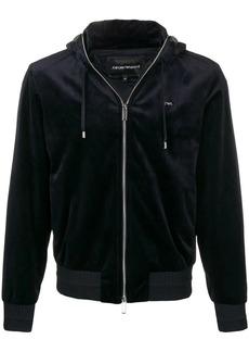 Armani velvet zipped hoodie