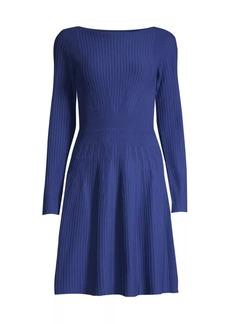 Armani Vertical Knit Long-Sleeve Dress