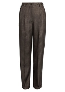 Armani Virgin Wool-Blend Pleated Trousers