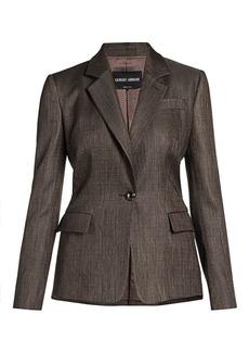 Armani Virgin Wool-Blend Single Breasted Jacket