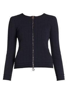 Armani Viscose Zip Front Textured Knit Jacket