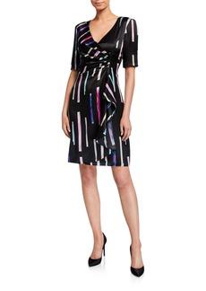 Armani Watercolor Tile Print Faux-Wrap Dress