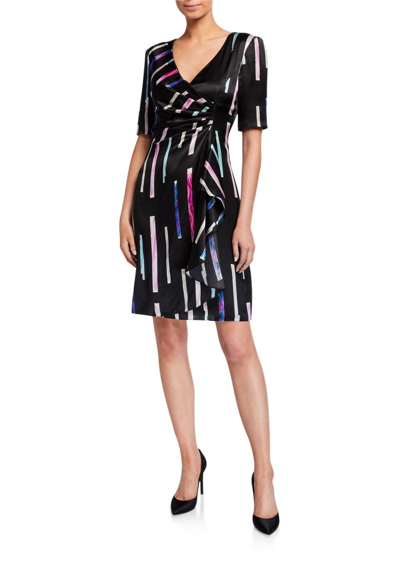 Armani Watercolor Tile Print Faux-Wrap Dress