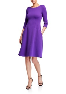 Armani Wave Jersey 3/4-Sleeve Full Skirt Dress