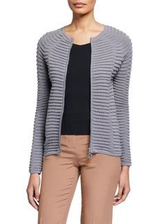Armani Wave-Knit Double-Zip Jacket
