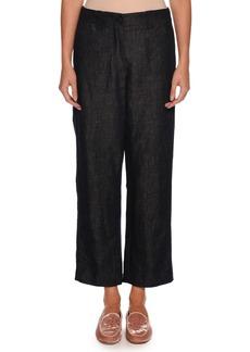 Armani Wide-Leg Cotton-Linen Denim Pants