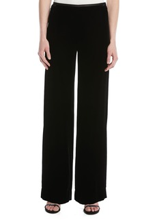 Armani Wide-Leg Side-Zip Velvet Pants
