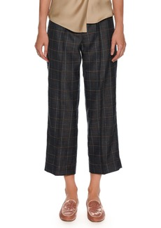 Armani Windowpane-Check Wide-Leg Belted Crop Pants