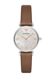 Armani Women's Gianni T-Bar Leather Strap Watch, 32mm