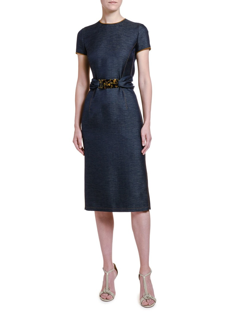 Armani Wool Chambray Belted Sheath Dress