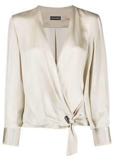 Armani wrap tie knot blouse