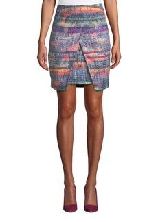 Armani Wrapped Hyper-Tweed Skirt