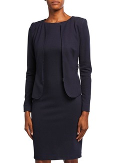 Armani Zen Dotted Jersey Ruched-Back Jacket