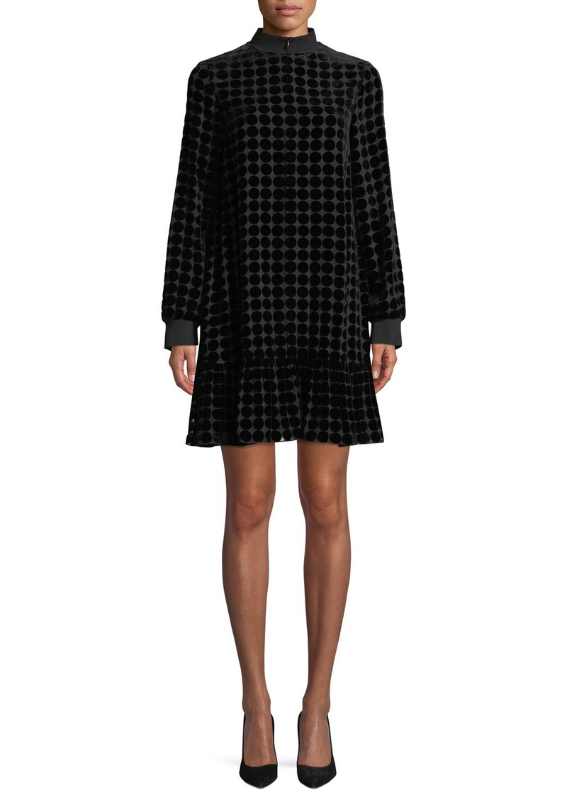 Armani Zip-Collar Long-Sleeve Dotted Velvet Burnout Trapeze Dress