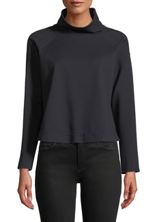 Armani Zip-Collar Long-Sleeve Jersey Sport Top