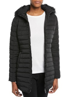 Armani Zip-Front Fitted Quilted Puffer Parka Jacket w/ Detached Hood