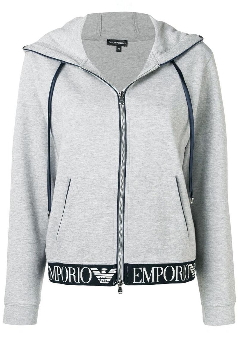 Armani zip front logo waistband hoodie