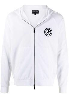 Armani zip-front mesh hoodie