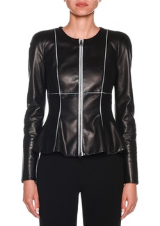 Armani Zip-Front Piped Fit & Flare Leather Jacket