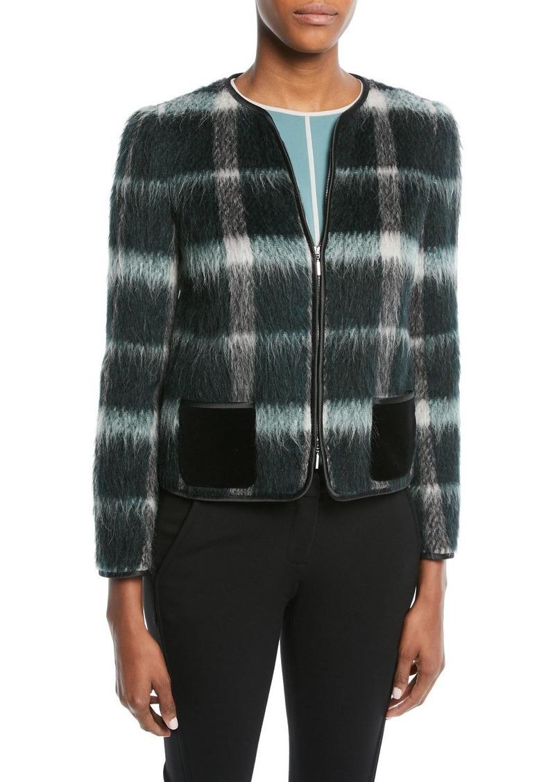 Armani Zip-Front Plaid Mohair Jacket w/ Velvet Pockets