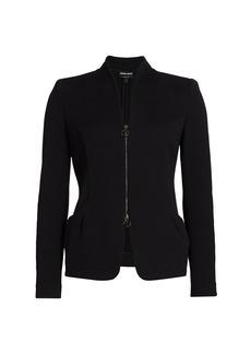 Armani Zip-Front Textured Jacket