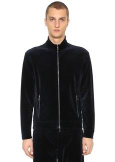 Armani Zip-up Cotton Velvet Sweatshirt