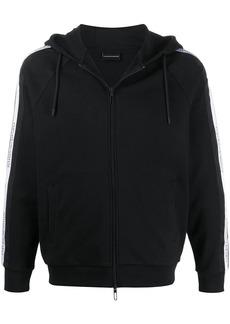Armani zipped logo stripe hoodie