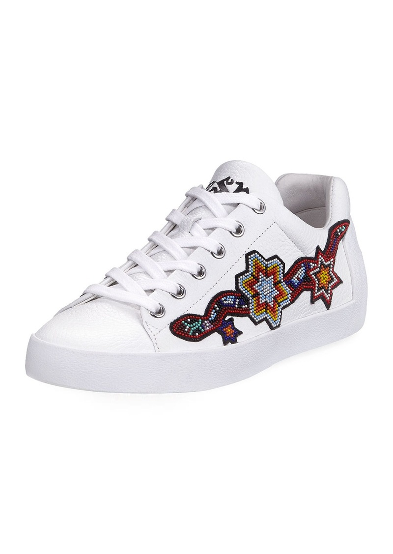 Ash Beaded Leather Low-Top Sneaker