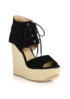 Ash Belinda Fringed Suede Espadrille Wedge Sandals