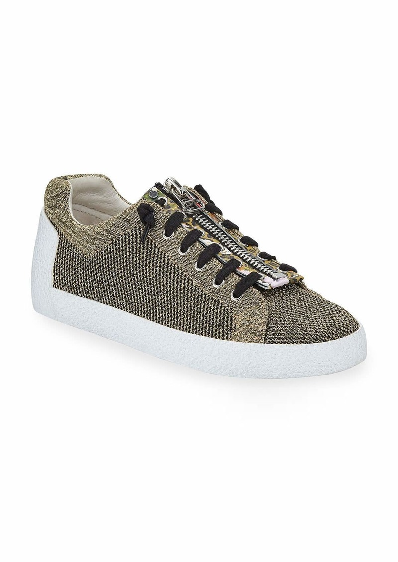 Ash Nirvana Metallic Knit Zipper Sneakers  Gold