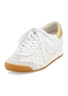 Ash Scorpio Diamond Woven Wedge Leather Sneaker