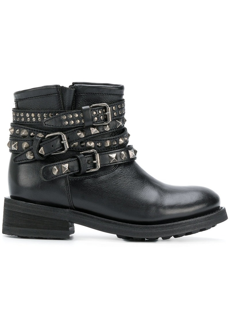 Ash studded buckle strap boots
