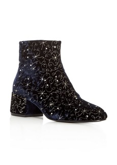 Ash Women's Diamond Bis Embellished Velvet Block Heel Booties