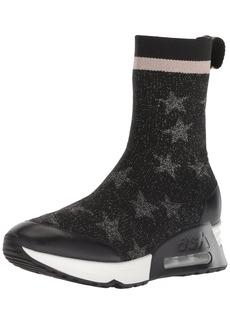 Ash Women's Lakes Sneaker Knit Silver/Nappa Calf Black 41 M EU (11 US)